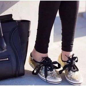 Kate Spade For Keds Gold Sequin Sneakers 8